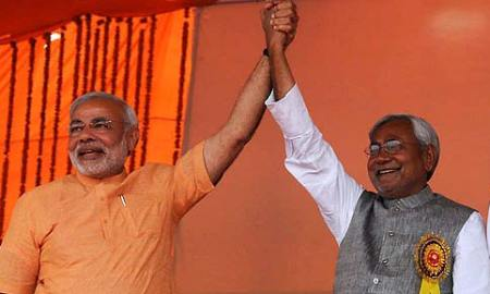 File photo of Narendra Modi and Nitish Kumar during an election campaign in Bihar