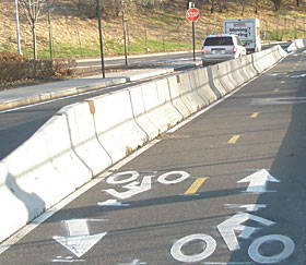 Williamsburg Street Bike Lane, part of the Brooklyn Waterfront Greenway