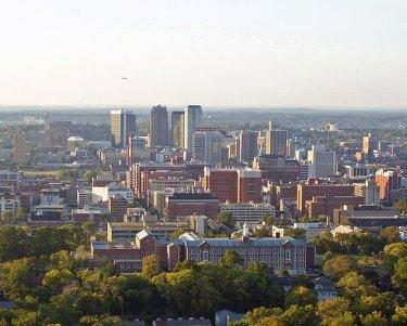 older skyline photo of Birmingham