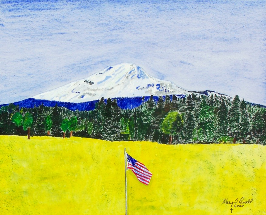 Original acrylic. An American flag in front of Mt. Adams.