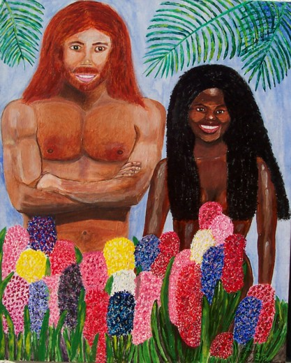 Original acrylic depicts Adam and Eve before the Fall.