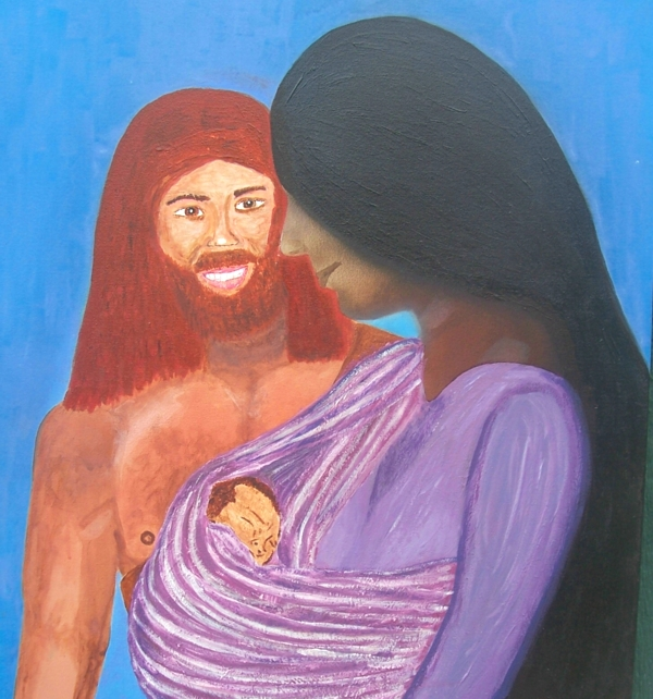 32x29 acrylic painting of Adam and Eve and their baby with Eve done in airbrush. God made their clothes to begin with, Gen. 3:20-21. , Gen. 4:1-2.