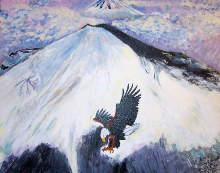 Original acrylic/oil painting. 24x30 canvas. The picture is of Mt. St. Helens March 27, 1980, when it gave off only a plume of black. You can see an eagle in the foreground and Mt. Rainier in the distance. The eagle represents Isaiah 40:31
