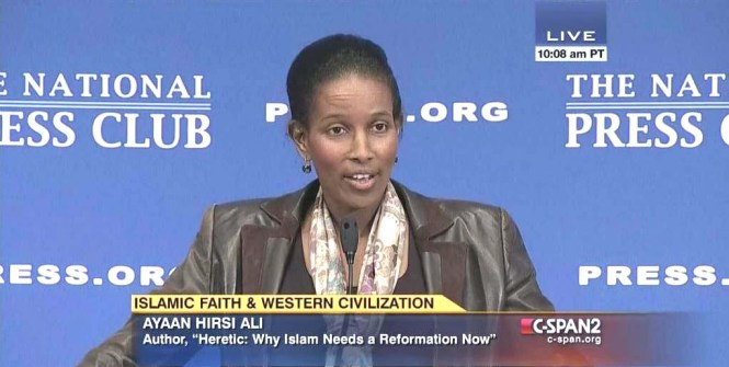 Ayaan Hirsi Ali speaking at the National Press Club