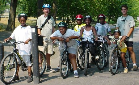 Bicycling skills class for children.