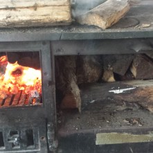 This is how we dried the wood to keep warm on a cold, snowy day in May