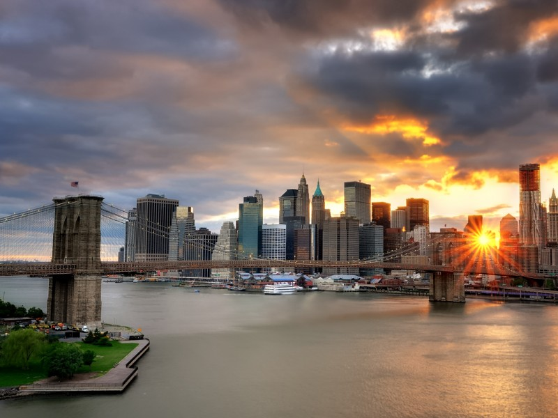 Sunset over the Brooklyn Bridge and Lower Manhattan, New York City