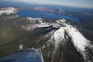 Viewing Crater Lake from the cockpit of the Cherokee Six
