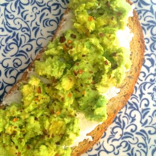 Mashed Avocado Toast with Ricotta, Honey & Cayenne Pepper