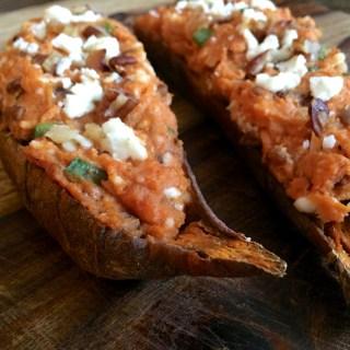 Twice Baked Sweet Potato with Feta, Pecans & Walnuts