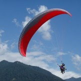 Paraglider about to land (Bir, India)