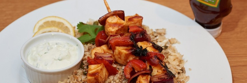 jerk halloumi kebabs with cauliflower cous cous