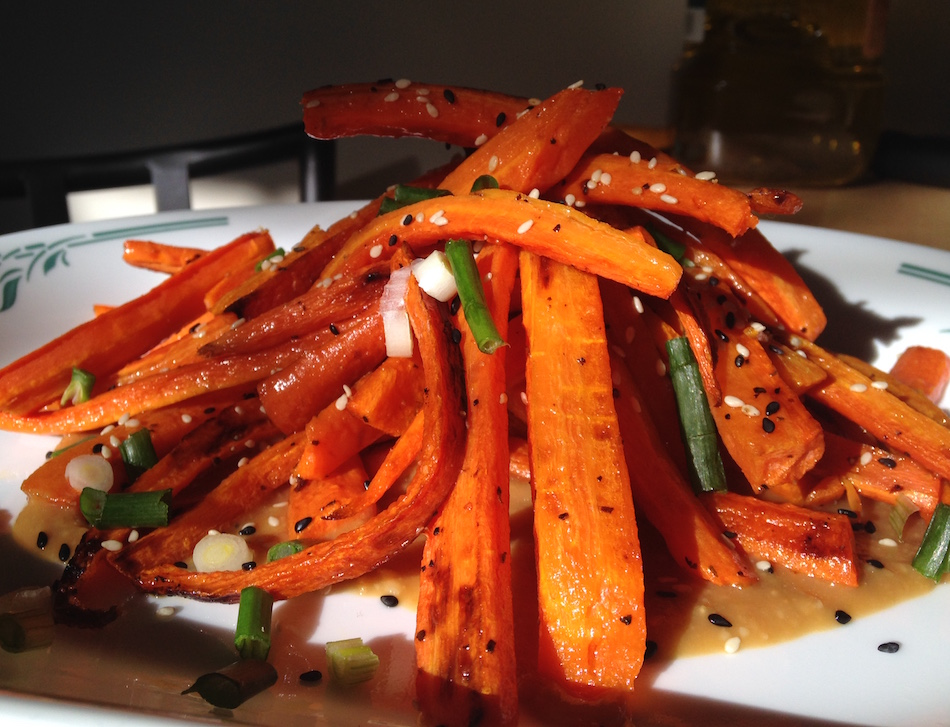 Roasted Carrots with Ginger-Miso Dressing