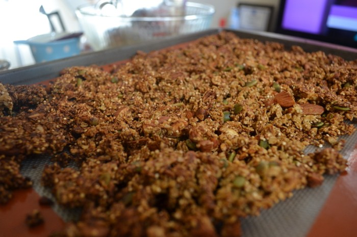 Salty crunchy savory granola is perfect for breakfast or snacktime