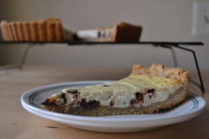 A slice of Cannoli Tart is the perfect snack. Full recipe on BigTasteTinySpace.com
