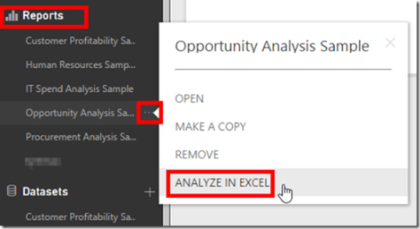 Analyse Power BI Reports in Excel from Power BI Service