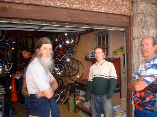 Coop members with Scott in front of the Mount Rainier Bike Coop