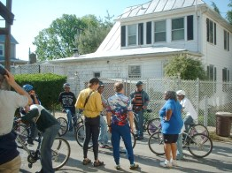 Gathering outside of the Mount Rainier Bike Coop