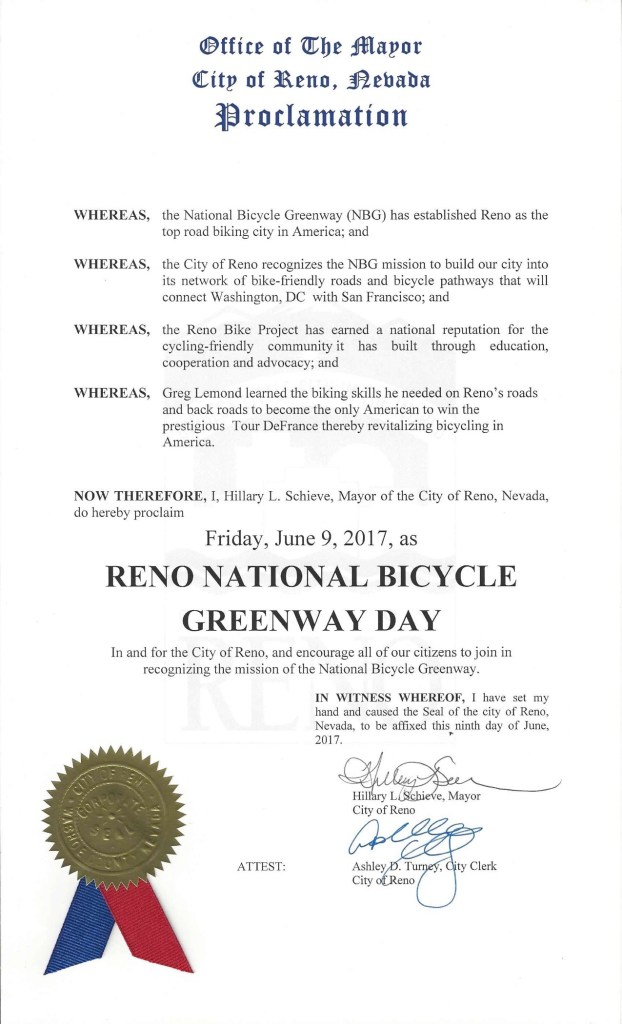 2017 Reno National Bicycle Greenway Day Proclamation