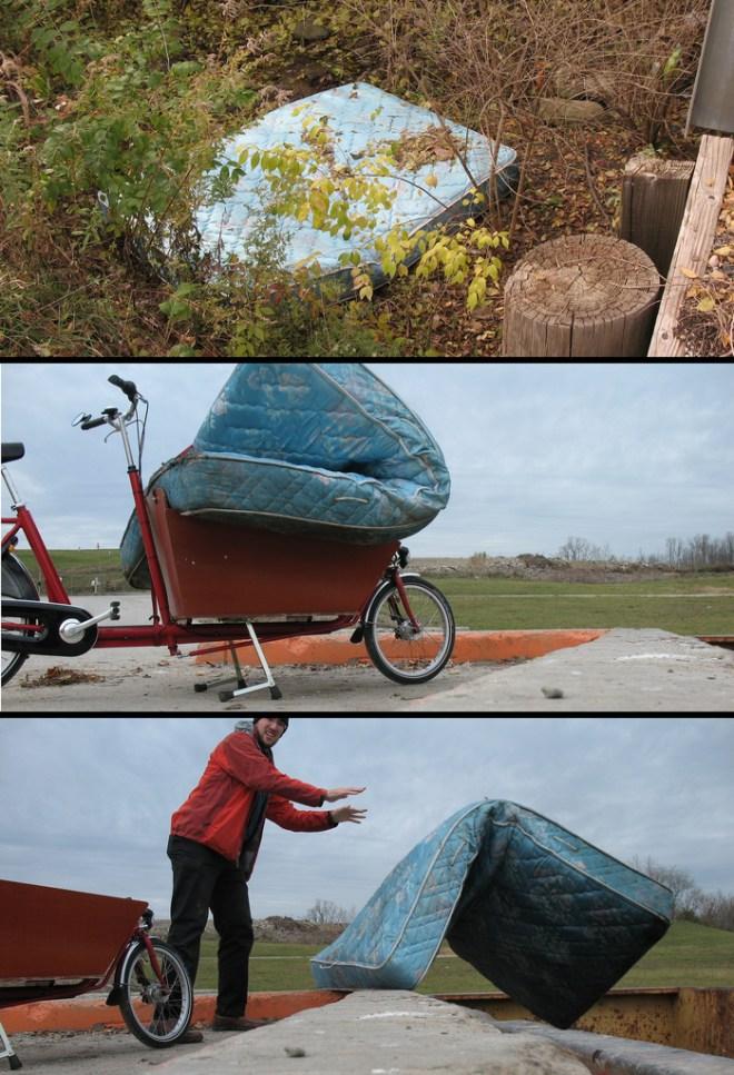 carrying a queen size mattress, by bike.