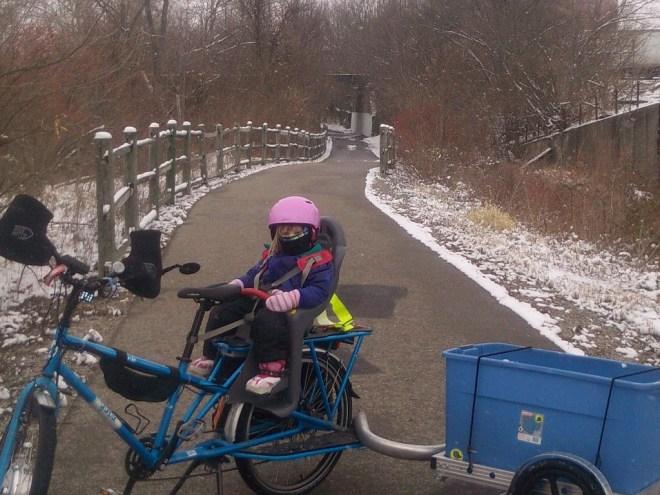 eMundo with trailer, bar mitts on greenway