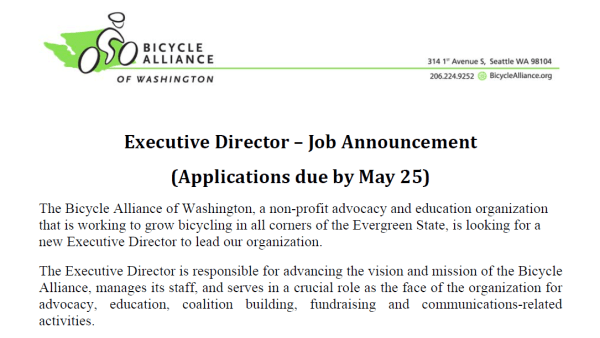 Bicycle Alliance of Washington Executive Director Job Announcement 2012