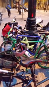 Just a few of the many bikes at the #WomenWhoRide event. Tessa is almost out of sight parked at the end of this row; I just loved all the colors. This is in front of Seattle City Hall by a Pronto bikeshare station.