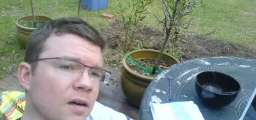 Me being a dork in my garden in 2008.