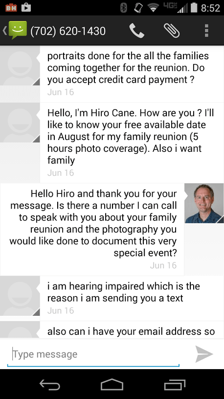 "Screen capture of text message exchange with ""Hiro Cane,"" a scam artist trying to lure me into a con."