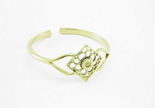 Recycled Brass Bracelet – Square Bees Nest And Bullet Rim