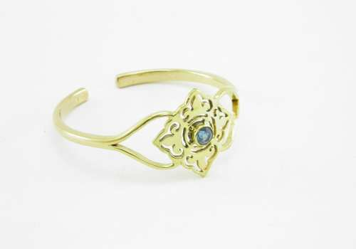 Bracelet – Tile And Stone – Recycled Brass