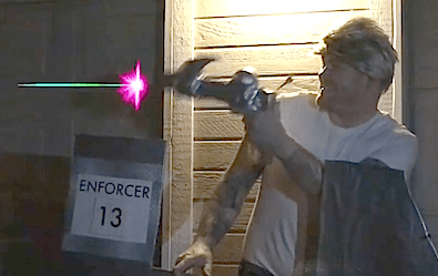 Screengrab of Bolt Vanderhuge firing a ray gun.