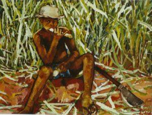 menino chupando cana, óleo sobre eucatex, 60 x 80 cm, 2004