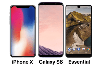 "The ""not really bezel-less"" wars: iPhone X vs Samsung Galaxy S8 vs Essential – BirchTree"