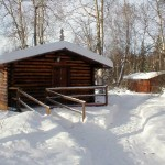 A sleeping cabin in winter
