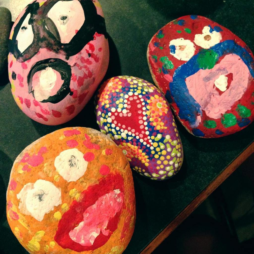 Rock painting with kiddos oneoftheseisnotliketheother