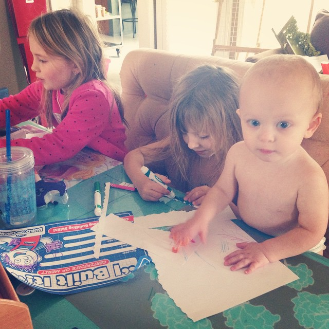 Morning with these three. #ShirtlessWonder #momlife