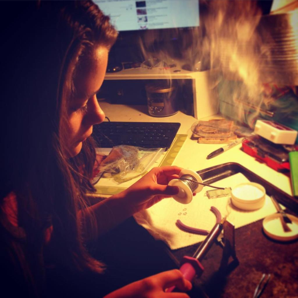Late night solder party with my niece crafting jewelry auntsrockhellip