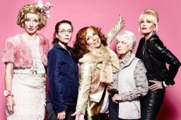 Absolutely Fabulous - main cast (lr) Bubble (Jane Horrocks), Saffron Monsoon (Julia Sawalha), Edina Monsoon (Jennifer Saunders), Patsy Stone (Joanna Lumley), Mother (June Whitfield)