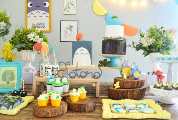 Colorful-Totoro-Birthday-Party-Treat-Table