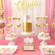 pink and gold swan party dessert table