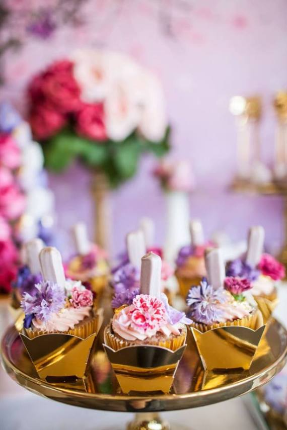 Colorful-Secret-Garden-Birthday-Party-Floral-Cupcakes