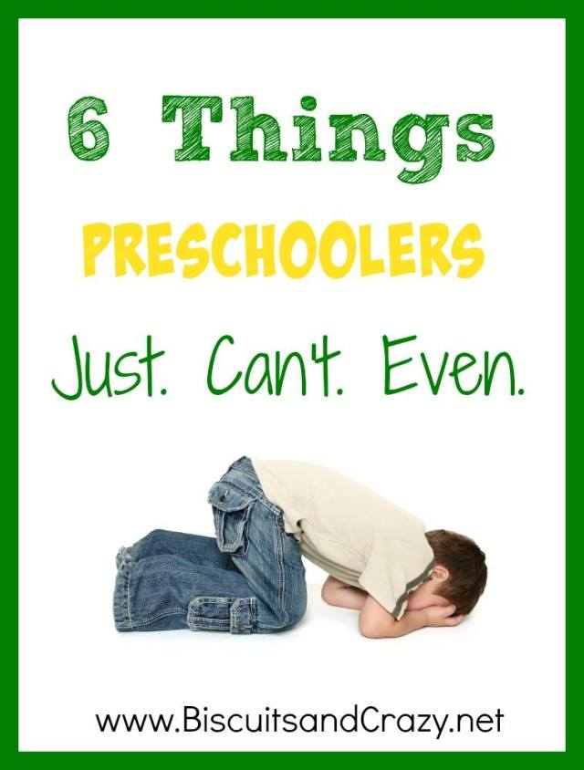 """Half the time preschoolers seem like they understand you. Then there are a few things that they just.can't.even. #motherhood #preschoolers """""""