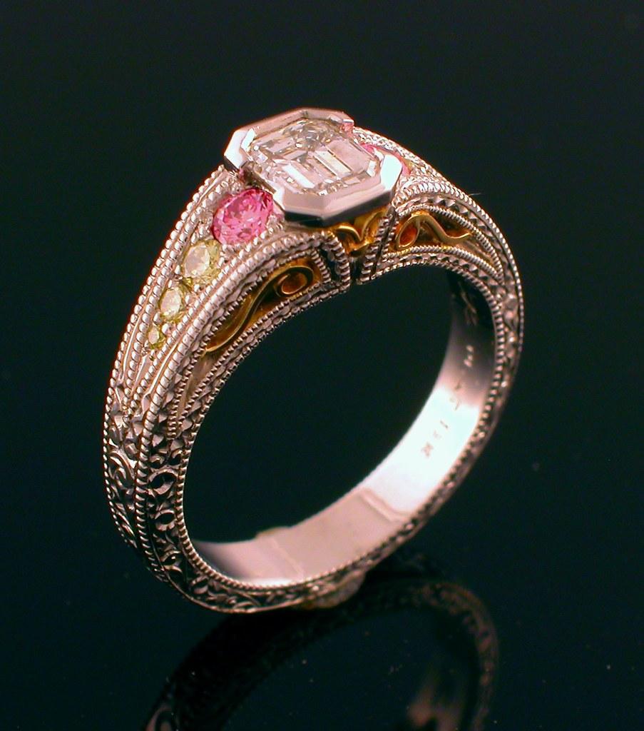 squarecutdiamondengahgq square diamond wedding rings Emerald cut diamond ring