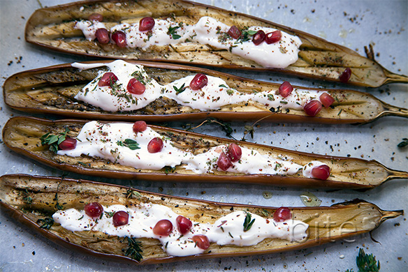 eggplant with yogurt dressing and za'atar – somebody's comfort food