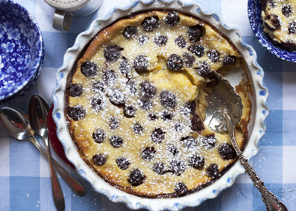 Julia Child's clafouti or my sour cherry baked pancake