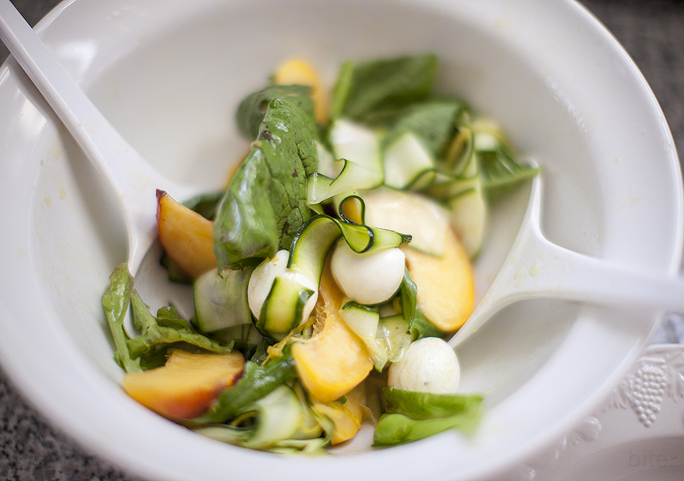 zucchini, mozzarella and fresh peach salad in lemon vinaigrette