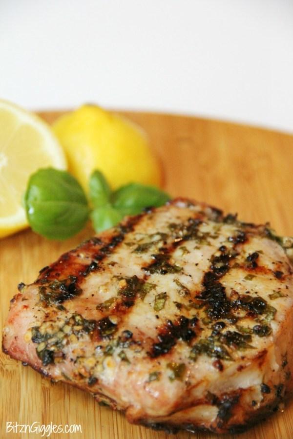 Lemon Basil Grilled Pork Chops - Bitz & Giggles