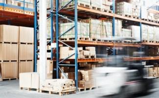 18196741 - worker driver at warehouse forklift loader works