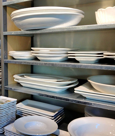 White dishes on a rack